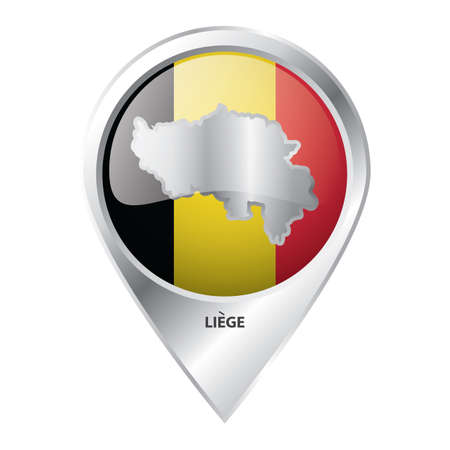map pointer with liege map Ilustrace