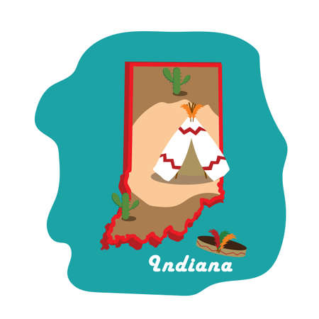 indiana state map with wigwam