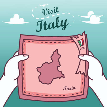 Hands holding turin paper map
