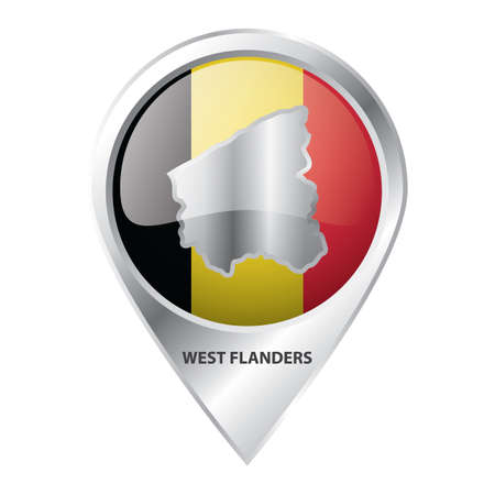 map pointer with west flanders  map Ilustrace