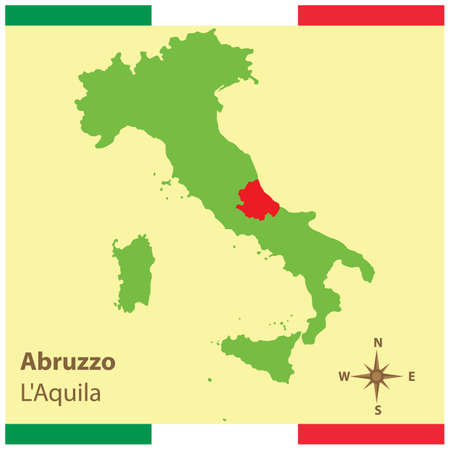 abruzzo on italy map Stock Vector - 81590193