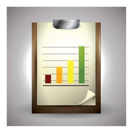 グラフをクリップボード  イラスト・ベクター素材