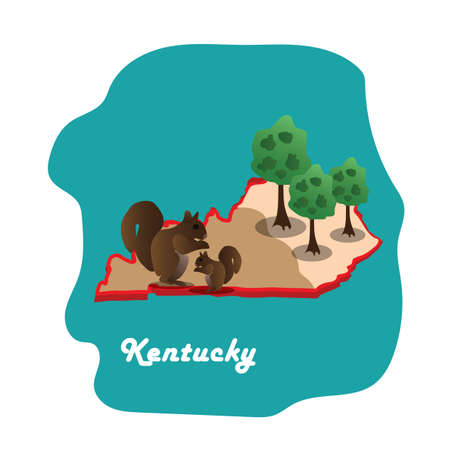 kentucky state map with grey squirrel