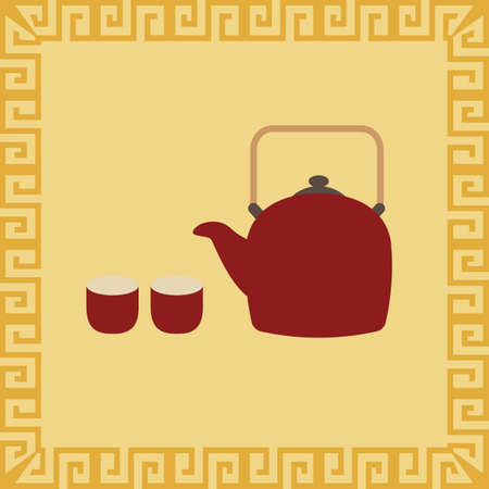teapot with cups Ilustrace