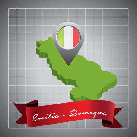 emilia-romagna map with map pointer Ilustração