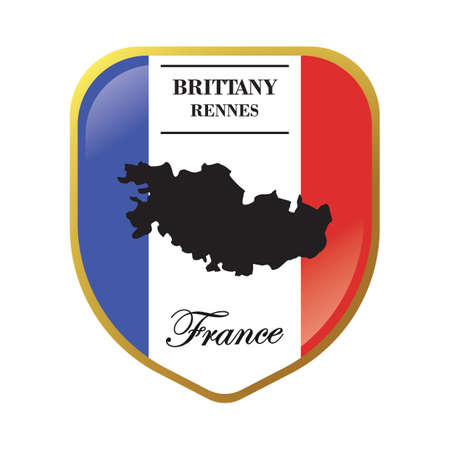 brittany map label Ilustrace