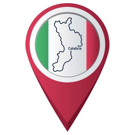Map pointer with calabria map Vectores