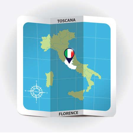 Puntatore della mappa che indica toscana sulla mappa Italia Archivio Fotografico - 81601170