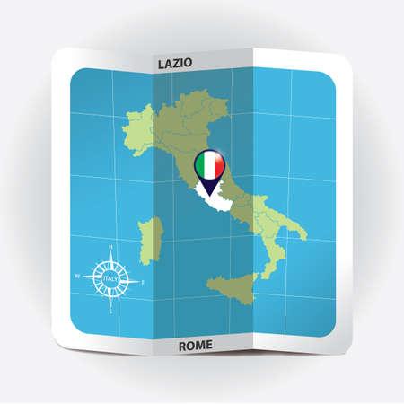 Kartenzeiger für Lazio auf Italien-Karte Standard-Bild - 81601097