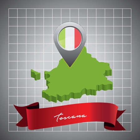 지도 포인터가있는 toscana지도
