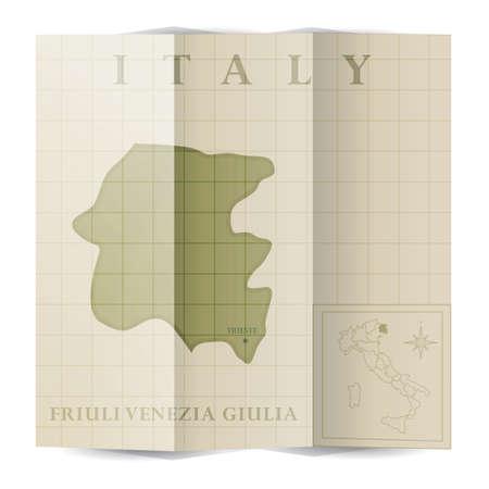 Friuli-venezia giulia paper map Illustration