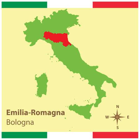 이탈리아지도에 에밀리아 - 로마 냐