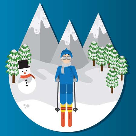 남자 스키 일러스트
