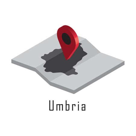 지도 포인터가있는 umbria지도 일러스트