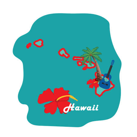 hawaii state map with beach