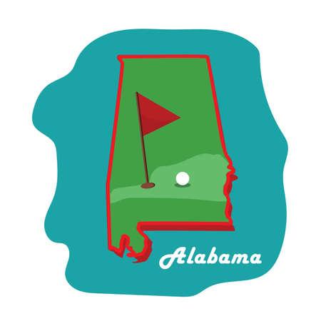 ゴルフとアラバマ州地図