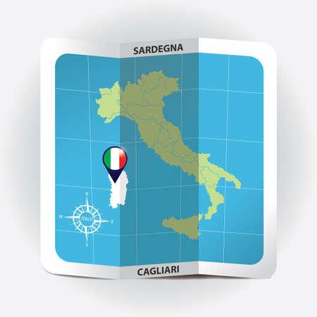 Puntero del mapa que indica Sardegna en el mapa de Italia Foto de archivo - 81601192