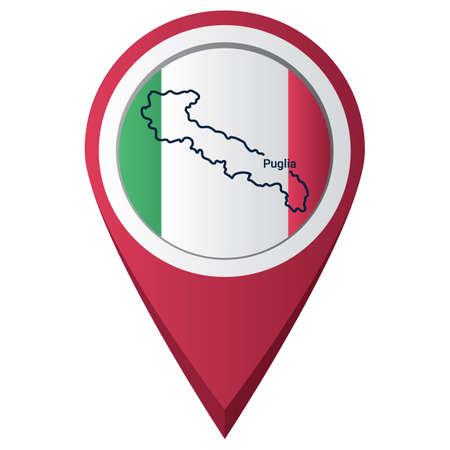 kaart aanwijzer met puglia kaart