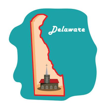 イマニュエル聖公会教会でデラウェア州地図  イラスト・ベクター素材