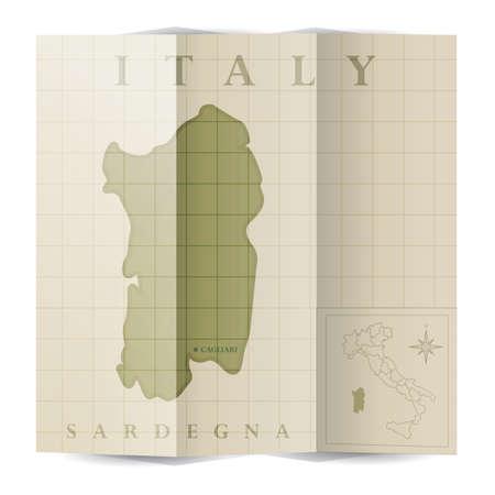 Sardegna 종이지도 일러스트
