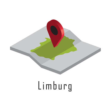 limburg paper map with map pointer