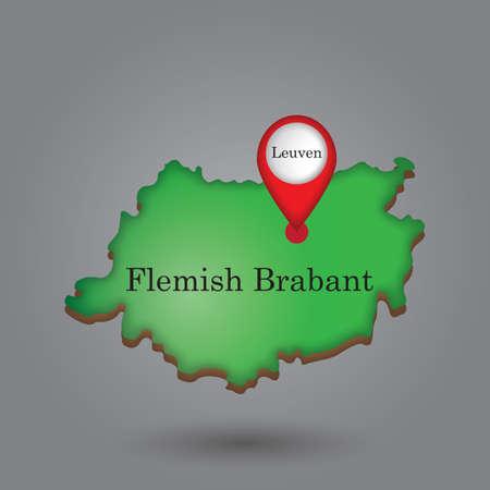 Kaartwijzer die leuven op Vlaamse brabantkaart wijst