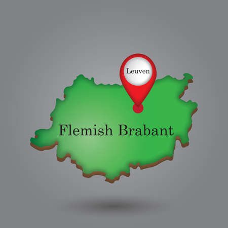 Map pointer indicating leuven on flemish brabant map