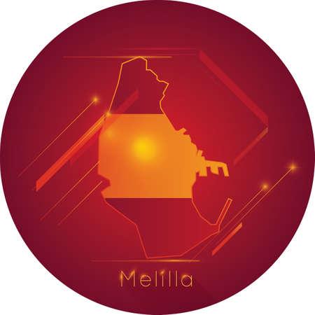 Melilla map Ilustração