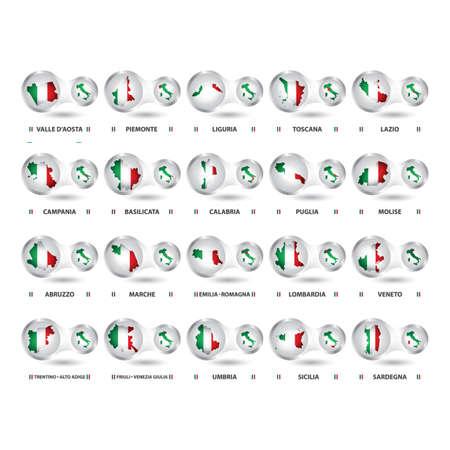 イタリアの州のマップのセット