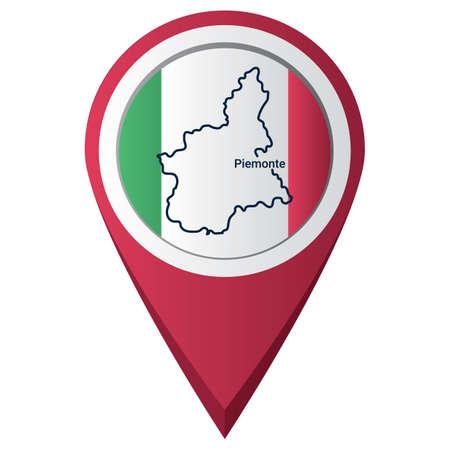 ピエモンテの地図とマップ ポインター