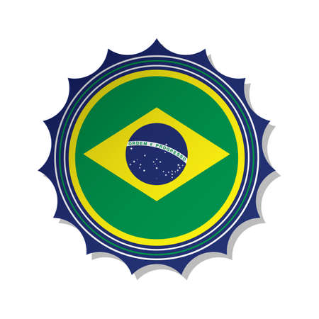 brazil flag label Banque d'images - 106669251