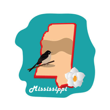 mississippi state map with mockingbird Reklamní fotografie - 81484952