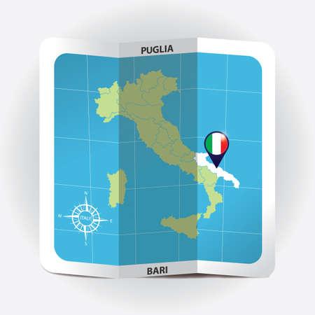 Puntero del mapa que indica puglia en el mapa de italia Foto de archivo - 81601093