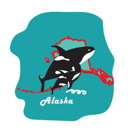 킬러 고래와 알래스카 상태지도 일러스트