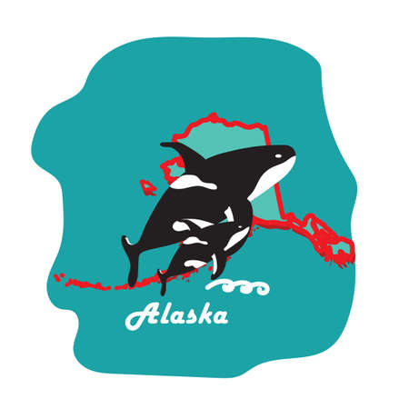 alaska state map with killer whale