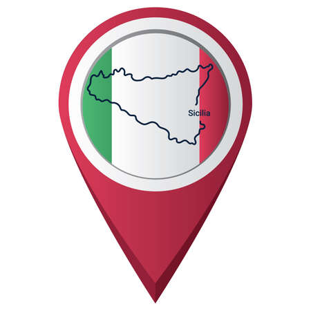 map pointer with sicilia map