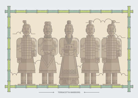 terracotta warriors Ilustrace
