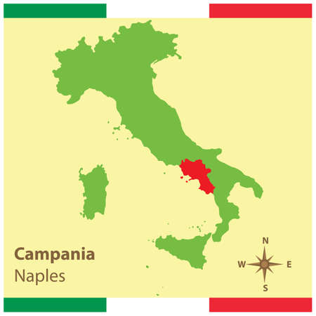 campania on italy map Stock Vector - 81590150