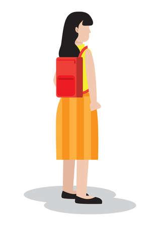 スクールバッグを持つ女の子  イラスト・ベクター素材