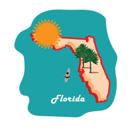 ビーチでフロリダ州地図  イラスト・ベクター素材