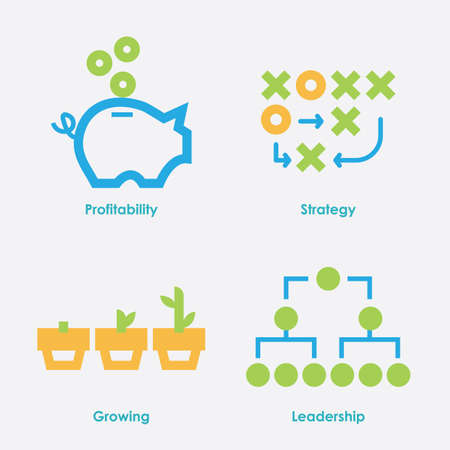 business strategy set Illustration