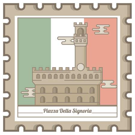piazza della signoria postal stamp Illustration