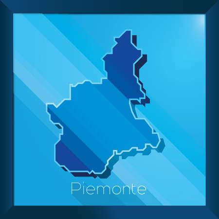 ピエモンテの地図  イラスト・ベクター素材