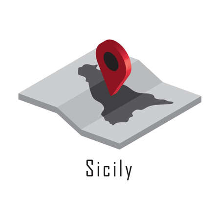 sicily map with map pointer Çizim