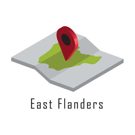east flanders paper map with map pointer 向量圖像