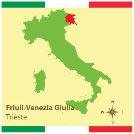 이탈리아지도에 friuli-venezia giulia