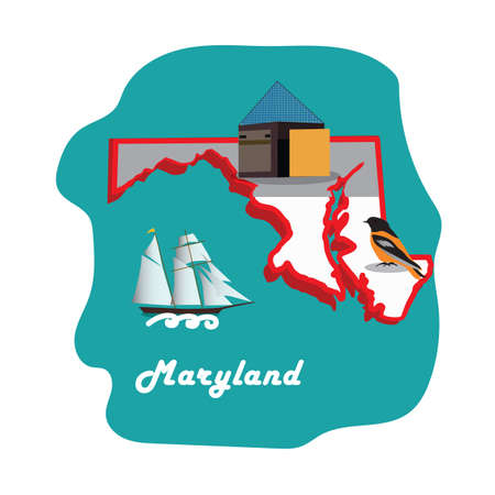 maryland state map with national aquarium baltimore