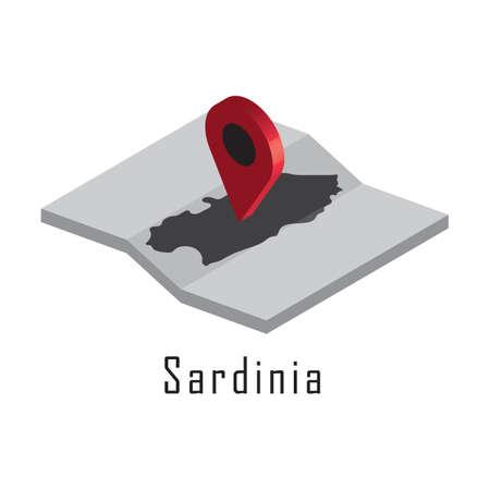 sardinia map with map pointer Ilustração