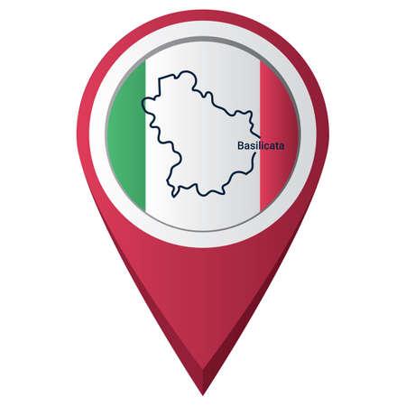 Puntero de mapa con mapa de basilicata Foto de archivo - 81601217