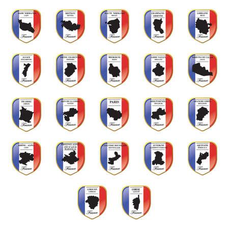 フランスの州のマップのセット  イラスト・ベクター素材